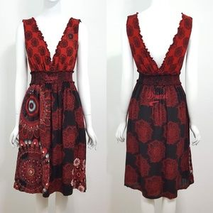 {Desigual} Red Mandala Print Sequin Ruffle Dress